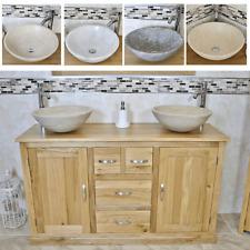Bathroom Vanity Unit | Solid Oak Cabinet Wash Stand with Stone Basin 603SBCX2