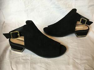 Atmosphere ~ Black Faux Suede Open Toe Slingbacks Sandals Block Heels ~ Size 5