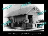 OLD LARGE HISTORIC PHOTO OF OLD GROVE MICHIGAN THE RAILROAD DEPOT STATION c1910