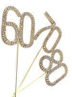 Gold 6cm Cake Pick Topper Diamante Rhinestone Birthday Anniversary