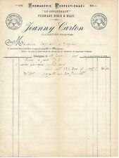 OLLIERGUES . FACTURE DE 1902 JOANNY CARTON . FROMAGE DOUX ET BLEU LE CONQUERANT