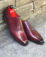Handmade Men's Burgundy Leather Brogues Oxford Leather Shoes