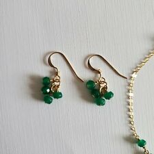 Genuine Emerald Earrings 14K Yellow Gold Filled Cluster Drop 2-3 mm Faceted bead