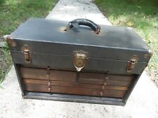 """Corbin Antique 20"""" Leather Wrapped Wooden Machinist Tool Box Chest 7 Drawers USA"""