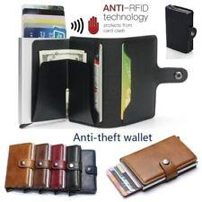 Мужские кожаный бумажник радиочастотная идентификация блокировка противоугонная визитница тонкий алюминиевый moneyclip