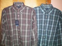 NWT NEW mens gray blue plaid CROFT & BARROW easy care classic fit dress shirt