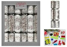 12 Luxury Christmas Crackers, Silver Snowflake Design - RSW