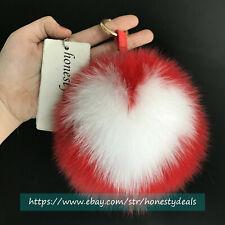 """Red White Heart Shaped 15cm 6"""" Real Fox Fur Ball Pom Pom Bag Charm Keychains"""