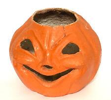 "Vtg Halloween Jack o Lantern Pumpkin Cardboard Candy Candle Paper Mache 9"" diam"