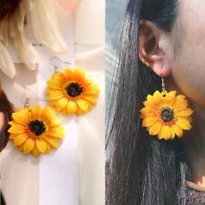 Fashion Golden Sunflower Drop Dangle Hook Earrings Acrylic Women Jewelry Gift