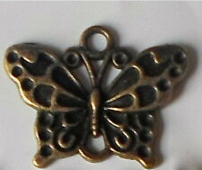 10 X Antiguo Bronce Mariposa Vintage Steampunk beads/charms/pendants 25mm Ch31