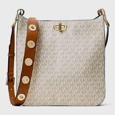 NWT Michael Kors SULLIVAN MK Sig LG North South Messenger Bag VANILLA/ACORN $348