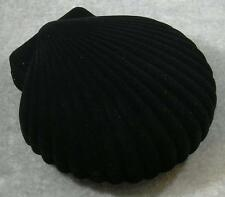 Black Velveteen Satin Lining Clam Sea Shell Necklace Earring Jewelry Gift Box