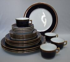 20pc Christineholm ROMANOV 5pc Place Settings for Four 4 Cobalt Rim Gold Scrolls