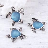 5Stücke Charms Anhänger für Halskette Kette Schildkröte Form Blau Harz Kette DIy