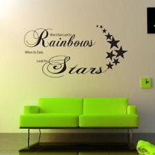 Rainbows Stars Adhesivo Pared Salón Habitación con Texto Estarcido WSD384
