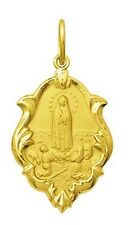18k Gold Our Lady of Fatima Medal Small, 0.9 grams Perfect Image