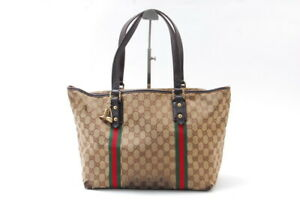 【Rank C】Authentic Gucci GG canvas tote bag Red-green  From Japan A231