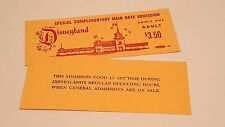 2 Two DISNEYLAND TICKETS Vintage Complimentary Admission Passport PARK HOPPER