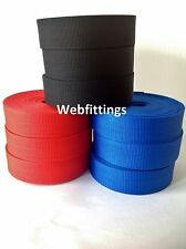 38mm Nylon Textured Webbing Tape Red, Navy, Royal Blue, Black 10m - 100m