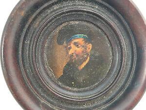 Antique European Painting Self Portrait 1880's Wooden Round Frame Man Beret HELP