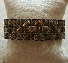 """Damascene Bracelet Panther Link Gold Black Steampunk 7/8"""" Wide Vintage Spain 7"""""""