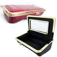 Genuine EEL SKIN Leather Framed MIRROR Makeup Cosmetic Makeup Case Purse