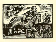 Don Quixote, Quijote, Quichotte Ex libris Bookplate John Dix