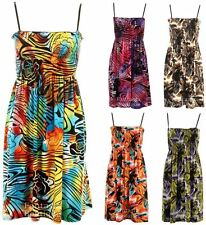 New Ladies Sleeveless Tiger Floral Print Strap Sheering Women's Summer Dress