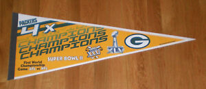 PACKERS 4X Super Bowl CHAMPS pennant SB I II XXXI XLV Starr Favre Aaron Rodgers