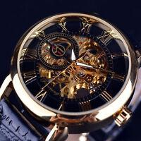 Neu_Skelett Herrenuhr Edelstahl Uhr Geschenk Automatik Armbanduhren Mechanisch