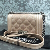 Rise-on CHANEL Boy Calf Skin Leather Gray Brown Chain Shoulder bag #2103