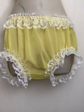 Frilly Yellow Chiffon Sissy Knickers Panties Waist 40""