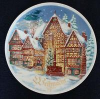 DDR alter Weihnachtsteller Henneberg Porzellan 23cm Fachwerkmotiv