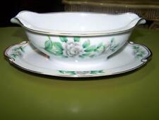 Virginia by Regal China w/ White Flowers & Green Leaves Gravy Boat w/ Liner