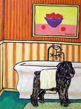 Bouvier Des Flandres dog drying off bathroom art print 13x19