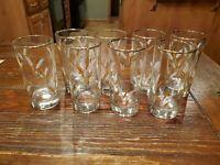Vintage Libbey Goldleaf Wheat Tumbler Glasses Gold Rim Barware Set of 8 Tumblers