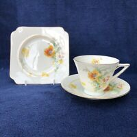 1930s Vintage Art Deco Royal Doulton trio cup/saucer/plate V1814 - poppies