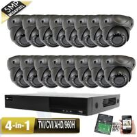 5MP HDMI 16CH All-in-1 DVR 5MP 4-in-1 AHD-HD-TVI Dome Camera System Viedo USB/2