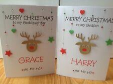 Handmade personalised Christmas card- For a Godchild-Grandchild-Niece or Nephew