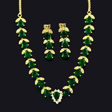 Schmuck-Set Oval CZ grïe Smaragd 18K Gold °îberzogene Ohrringe Halskette