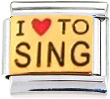 SING I LOVE TO SING Enamel Italian 9mm Charm MD011 Fits Nomination Classic