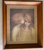 Vintage First Kiss Picture Margaret Kane Boy Kissing Big Eyed Girl Framed 16x20