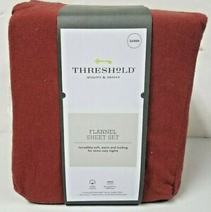 """THRESHOLD FLANNEL SHEET SET QUEEN RED  RUST FITS UP TO 17"""" MATTRESS 100% Cotton"""