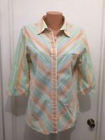 ALIA  Women's Blouse  3/4 sleeves Button Stripes Peach Blue White 12 Cotton Poly