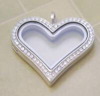 HEART LARGE LIVING MEMORY LOCKET STAINLESS STEEL for Floating Charm SILVER PNH1