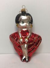 "7"" Polonaise Betty Boop Glass Ornament in Red Dress"