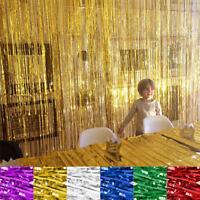 2M/3M Shimmer Foil Glitter Tinsel Metallic Backdrop Curtain Window Wedding Party