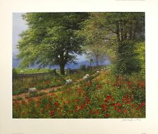 "Bill Makinson ""sheepwalk lane"" coquelicots sgd limited ed! taille: 51cm x 60cm neuf rare"