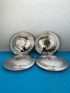 4 ORIGINAL CHROME STEEL CENTER CAPS FOR McLEAN WIRE & WIRE WHEELS W  NL